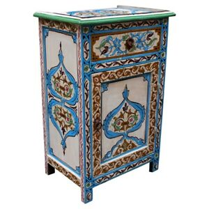 Moroccan Nightstand Hand Painted Dresser Night Table Made From Wood SAMAR H68