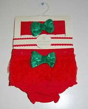 Nwt Baby Essentials Infant Girls Red & Green Diaper Cover & Head Band Set 0-6M