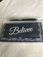 BELIEVE Check Book Blue Canvas Cover & Pen New In Package.