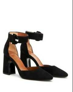 Worn Once! Women's 7.5 Aquatalia Neala Suede Ankle Strap Heels - Black