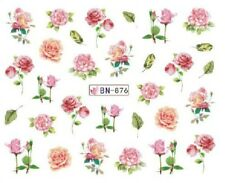 Nail Art Decals Transfers Stickers Pink Flowers (BN876)