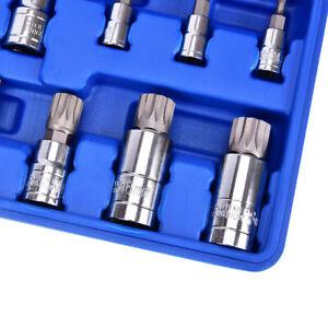 """Triple Square Mechanics Tool10PCS Spline Bit Socket Set Multi 1/4"""" 3/8"""" 1/2"""" NEW"""