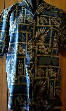 Vintage Hawaiian Shirt Royal Creations Tiki Ku Hibiscus Ukelele L