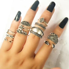 KD_ FH- 12Pcs Vintage Women Palm Flower Leaf Butterfly Lady Knuckle Rings Set