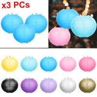 Set of 3 Round Paper Lantern Lamp Decoration Party Wedding Festival 8 inches