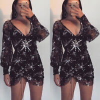 Womens Long Sleeve Sheer Bodycon Pencil Evening Party Clubwear Party Mini Dress