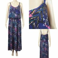 Ex Bon Marche NAVY Maxi dress abstract leaf print strappy dress Size 12 - 20