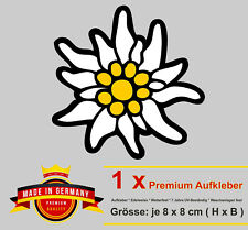 8 cm Aufkleber Alpen Edelweiss Bayern Auto Bike Sticker wetterfest UV-beständig