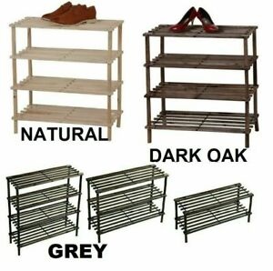 Wooden Shoe Rack Stand Slatted Stand Holder Organizer 2 / 3 / 4 Tier Die Colour