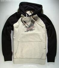 American Eagle Mens Black & Oatmeal Pullover Hoodie Sweatshirt LARGE NWT