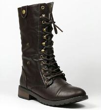 Dark Brown Faux Leather Fold Down Plaid Mid Calf Lace Up Military Combat Boots