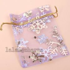 500pcs Pretty Snowflakes Purple Organza Wedding Favours Gift Package Bags LC
