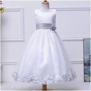 Girls Christening Bridesmaid Dress Petal Bow Tutu Wedding Flower Petals Dresses