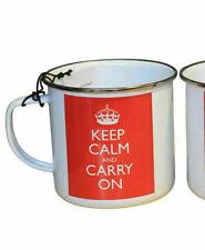 England Keep Calm and Carry On Enamel Novelty Mug White Red Home Office Sale