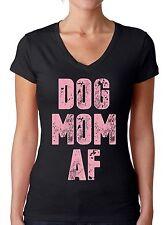 Dog Mom AF Women's V-neck T shirt Tops Dog Lover AF Pink Mom of Dogs