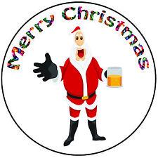 "Christmas Cake Topper Drunk Santa - Easy Precut Round 8"" (20cm) Icing Decoration"