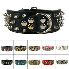 Spiked Studded Leather Dog Collar Adjustable 2'' Wide Collars Medium Large Boxer