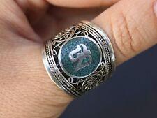 Wide Adjustable Tibetan Filigree Turquoise Gemstone Inlay Mantra OM Amulet Ring