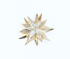 Swarovski Crystal Star Brooch Starburst Pin Gold costume Jewelry bold piece