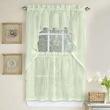 Micro-Check 2 Tone Cream Semi-Sheer Window Curtain Tiers, Valance, or Swag
