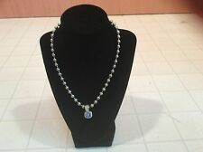 Silver Tone Round Beads & Silver Tone Pendent With Blue Stone Necklace