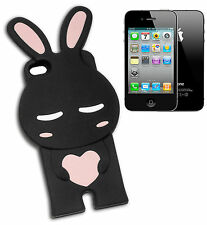IPHONE 4 COVER BUMPER RUBBER ANIMAL BUNNY HEART BLACK PINK