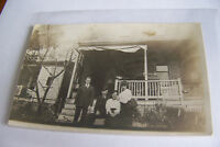 Rare Antique Vintage RPPC Real Photo Postcard Family Photo In Front Of House