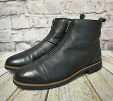 Womens Clarks Black Leather Low Heel Front Zip Up Ankle Boots UK 6.5 D EUR 40