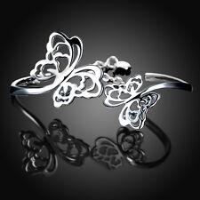 925Sterling Silver Jewelry Elegant Two Butterfly Women Bangle Bracelet BY235