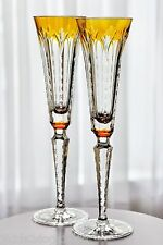 Ajka Faberge Grand Palais Yellow Gold Cut to Clear Crystal Wine Champagne Flutes