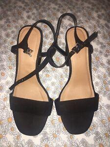 Asos Design Wide Fit Winter Heeled Black Sandals 5