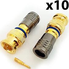 Conectores De Compresión Bnc 10x RG6 Cable Coaxial crimp MacHo Enchufes-instalación Cctv
