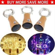 Solar LED Fairy String Lamp Wine Bottle Copper Cork Party Lights Decor 10/20 LED