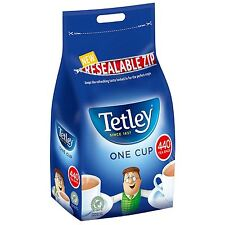 Tetley One Cup 440 Black Tea Bags 1kg  Fresh Large Catering Resealable Zip Bag