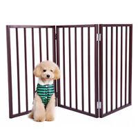 "24"" Folding Solid Pet Dog Fence Playpen Gate 3 Panel Free Standing Fence Indoor"