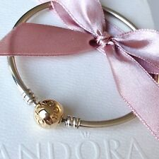 Genuine Used Pandora 14ct Gold And Silver Moments Bangle 19cm 590718
