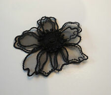 A small doubled layered black organza floral lace applique / lace motif flower