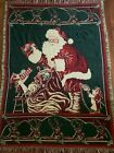 """1993 Vtg  Santa with elves & gifts Christmas Throw Blanket 47""""X67""""tapestry"""