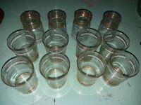 12 petits verres années 50, dorés, nancy, baccarat, Art Déco