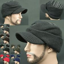 Cadet Box HOI GRAY Visor Beanie Russian Skull Knit Cap Hat Ear wamer EarFlap