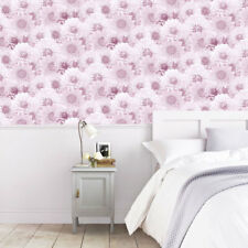 Pink Floral Wallpaper Flower Abstract Modern Script Photographic Muriva