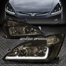 [LED DRL]FOR 2003-2007 HONDA ACCORD SMOKED HOUSING CLEAR SIDE HEADLIGHT/LAMP SET