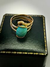 Vintage Solid Gold 18K snake Ring Size 5.5/16mm FINEST PERSIAN TURQUOISE