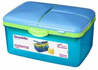 Sistema Large Blue Quaddie Lunch Box 2L Multi Compartment BPA Free