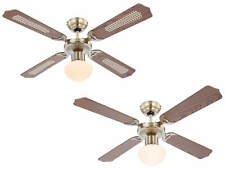 """Indoor ceiling fan light with pull chains Champion Brass and Oak 106 cm 42"""""""