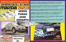 ANEXO DECAL 1/43 MAZDA 323 GTX JESUS PURAS RALLYE PORTUGAL 1991 (07)