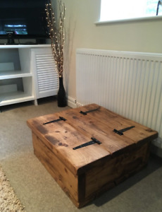 Square Storage Coffee Table Chest Rustic Solid Chunky Pine Wood Handmade RB wax