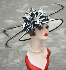 Noble Womens Sinamay Flower Feather Kentucky Deby Wide Brim Formal Hat A329
