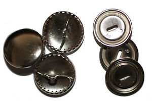 Überziehbare Knöpfe, 19mm - 10 Stück, Knopfrohlinge aus Metall