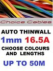 1.0MM AUTO CABLE, 12/24V THINWALL CAR BOAT VAN VEHICLE WIRE, 16.5 AMP UPTO 50M